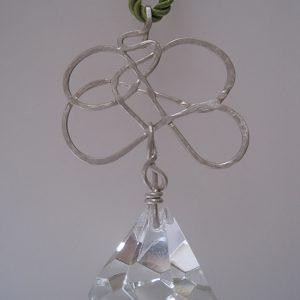 colgante 4 caireles de plata y vidrio, joya unica