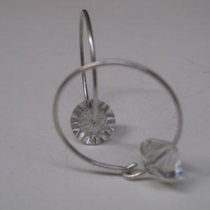 pendientes caireles de plata y vidrio, hechas a mano