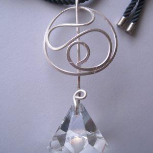 colgante 3 caireles de plata y vidrio , joya hecha a mano en barcelona