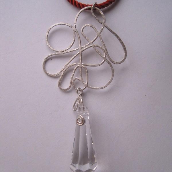 colgante plata y vidrio 2, hecho a mano, joya unica